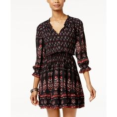 American Rag Printed Ruffled Peasant Dress, ($70) ❤ liked on Polyvore featuring dresses, classic black, flutter-sleeve dress, bohemian peasant dress, frill dress, frilly dresses and bohemian style dresses
