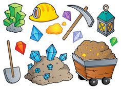 Illustration about Mining theme collection 1 - vector illustration. Illustration of lantern, ground, precious - 24861159 Gold Mining Equipment, Gift Card Printing, Romantic Themes, Embroidery Cards, Free Art Prints, Royalty Free Pictures, Small Art, Cartoon Kids, Wall Murals