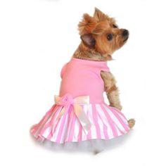 DN0365 - Pink Striped Dog Tank Dress