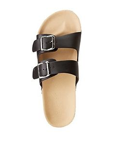ea5fb79bdcec Bamboo Two Buckle Band Slide Sandals Slide Sandals