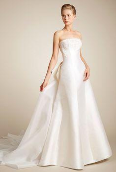 Brides: Giuseppe Papini. Silk mikado sculptural A-line wedding dress, beaded bodice and silk organza train. www.giuseppepapini.com