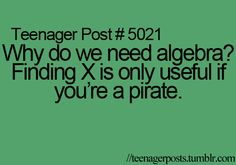 True! I'm not even a teenager anymore and I have no clue why I ever needed to take algebra!!