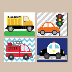 ★TRANSPORTATION Wall Art, City Theme, CARS Baby Nursery Artwork,Big Boy Bedroom Pictures,Automobiles Decor, Police CANVAS or Prints,Set of 4 ★Includes
