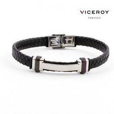 adde7fbabaf7  Pulsera de  cuero  trenzado en negro para hombre de la marca   ViceroyFashion