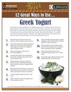 Greek Yogurt, a staple ingredient in the Mediterranean is thicker and creamier than regular yogurt.  Find out 12 great ways to use Greek Yogurt from Oldways!