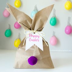 Whip up these easy Easter Bunny Gift Bags in minutes! Perfect last minute Easter Craft for Easter gift giving, Easter centerpiece or decor!
