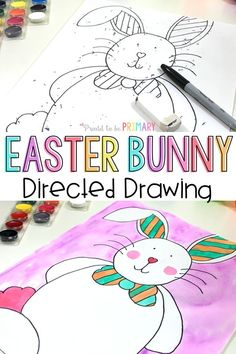Are you searching for the perfect arts and craft activity for Easter? This directed drawing of the Easter Bunny provides teachers with an easy to teach lesson that Kindergarten and primary kids will love! {FREE directions included} #directeddrawing #easter #easteractivities #easterbunny #artforkids