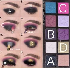 Eyebrow Makeup Tips, Eye Makeup Steps, Eye Makeup Art, Eyeshadow Makeup, Bold Makeup Looks, Beautiful Eye Makeup, Beauty Killer Palette, Makeup Face Charts, Hooded Eye Makeup