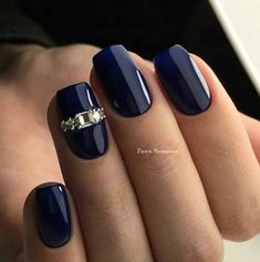 Cobalt Blue Nails With Rhinestones;blue manicure;blue nail designs;Blue Gel;Nail Polish;blue nail art;rhinestone nails; art winter elegant 2019 Stunning Cobalt Blue Nails For Elegant Ladies Cobalt Blue Nails, Blue Gel Nails, Dark Blue Nails, Acrylic Nails, Navy Nails, Nail Art Blue, Jewel Nails, Beautiful Nail Designs, Beautiful Nail Art