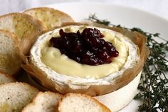 Baked camembert with thyme and lingonberry jam