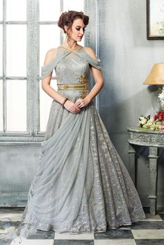 Shop online at www.sugnamal.com Order on call: 0522-4005453 Order on whatsapp: 8418888893 #gown #designer #grey #fashion #party_wear #shop_online #fashion_at_sugnamal #shop_from_india #new_arrival #best_designer_collection #wedding #shaadi_fashion #happy_customers