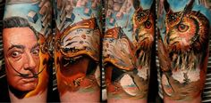 full-color Salvador Dali portrait and themed arm tattoo with great horned owl