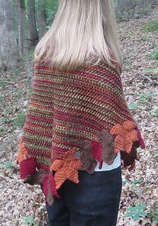 Autumn Leaves Shawl - free triangular crochet shawl pattern by Erica Bennett.