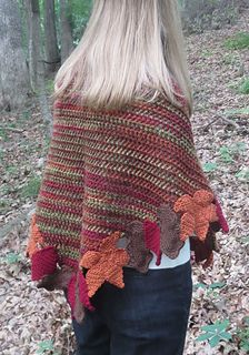 Autumn Leaves Shawl - free triangular crochet shawl pattern by Erica Bennett.