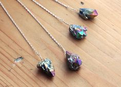 Rainbow Quartz Cluster Arrow Necklace - Natural Crystal Druzy Aura Long Raw Rough Point Gemstone Gem Drop on Sterling Silver Plated Chain by kissthefuture on Etsy