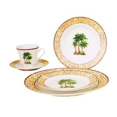 Palm Tree Decor | 20PC PALM TREE DINNERWARE SET
