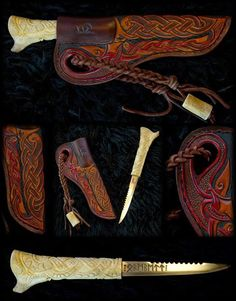 I really should do something like this for the amazing knife that Fergus bought for me. It's original holster is fine but this would be amazing. Wodenswolf: Norse Arts and Design