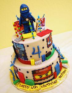 lego birthday cakes for boys Happy 4th Birthday, Baby Boy Birthday, Lego Birthday, 6th Birthday Parties, Birthday Cakes, Birthday Ideas, Lego Ninjago Cake, Lego Cake, Carton Invitation