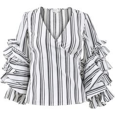 Caroline Constas Athena Striped Wrap Blouse ($395) ❤ liked on Polyvore featuring tops, blouses, miscellaenous tops, wrap blouse, long blouse, long sleeve ruffle blouse, wrap top and black and white striped blouse