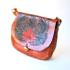 vintage 1970s purse / tooled leather