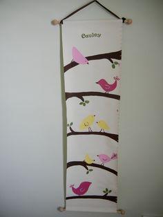 Personalized Children's Growth Chart, Birds, M2M Pottery Barn Kids Penelope- New Design. $60.00, via Etsy.