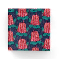 Banksia Wrap Navy/ Banksia Wrap on Kraft Pink Custom Paper Bags, Bees Wrap, Brown Paper, Navy, Pink, Gifts, Kraft Paper, Hale Navy, Presents