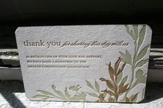 Instead of favors, a thank you for coming and a donation to the Amazon Conservation Association.
