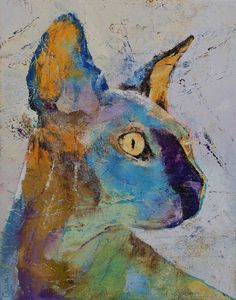 """""""Sphynx Cat"""" by Michael Creese.  Discover more contemporary paintings at www.imagekind.com!"""