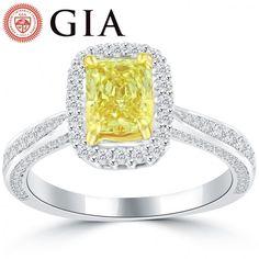 1.90 Carat GIA Certified Fancy Intense Yellow Diamond Engagement Ring 14k Gold - Thumbnail 1