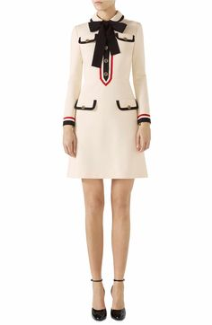 b1be093c1f9d8c Main Image - Gucci Bow Neck Piped Jersey Dress Fashion Brands