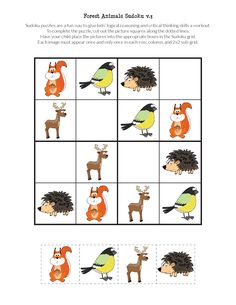 FREE printable Forest Animals Sudoku puzzles for kids || Gift of Curiosity