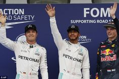 Nico Rosberg (left) finished in second position with Max Verstappen (right) in third place...