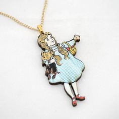 Dorothy Wizard Of Oz Necklace by LaurasJewellery on Etsy, Lion Necklace, Pendant Necklace, Dorthy Wizard Of Oz, Glinda The Good Witch, Cowardly Lion, Ruby Slippers, Fabric Flowers, Brick Road, Surrender Dorothy