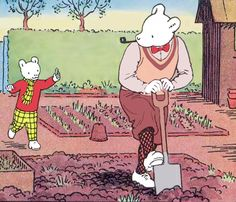 Rupert Bear and his Dad in the garden Childhood Toys, Childhood Memories, Winnie The Poo, Paddington Bear, Bear Pictures, Bear Art, Vintage Children's Books, Cute Images, Children's Book Illustration