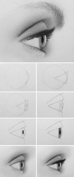 The fast way to draw an eye from the side Fast Drawing, Drawing Heads, Drawing An Eye, Painting & Drawing, Art Lessons, Drawing Lessons, Drawing Tips, Pencil Art, Pencil Drawings