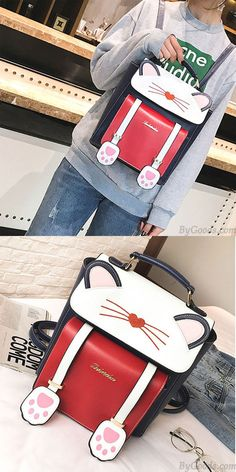 Cute Cartoon Sweet Animal Kitten School Bag Cat Girl College Backpack   kitten  cartoon   3a68c6621149e