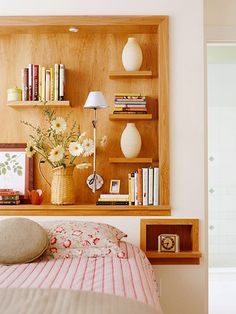 Insets in your bedroom will totally help cut your clutter! http://www.bhg.com/rooms/bedroom/storage-headboards/?socsrc=bhgpin012315insetsavvy&page=9