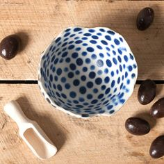 bowl blue dots danish vessel unique keramik ceramics handmade by eeliethel scandinavian studio pottery home decor