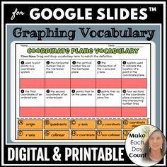 Coordinate Plane Vocabulary Drag and Drop - FREE Algebra Lessons, Algebra Activities, Back To School Activities, Math Resources, Vocabulary Flash Cards, Math Courses, Free Math, Word Families, Math Teacher