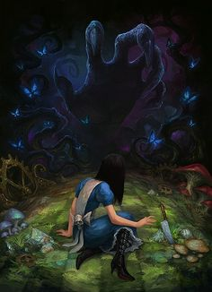 Alice in wonderland dark art inspiration ideas Dark Fantasy, Fantasy Art, Alice Madness Returns, Alice In Wonderland Fanart, Alice Liddell, Art Anime, Were All Mad Here, Arte Horror, Chibi