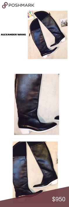 NEW•Alexander Wang • \\ALEXANDER Wang// •RUNWAY SAMPLE• Sold out everywhere ::: Thigh High Black Leather Cowgirl Boots ::: Mesh wide calf ::: White soles ::: Worn a couple of time and in excellent condition ::: Size 8• Alexander Wang Shoes Over the Knee Boots