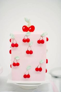 "Cherry themed Birthday Cake from a ""Cherry on Top"" Soda Shop Birthday Party on Kara's Party Ideas 