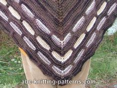 ABC Knitting Patterns - Garter Stitch Shawl with Slip Stitch Border.