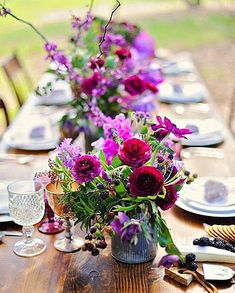 So I don't know about a floral runner because flowers can get pricey, but I love the use of color. we could do this with your Burgundy/marsala/wine color Purple Wedding, Floral Wedding, Wedding Colors, Wedding Flowers, Trendy Wedding, Spring Wedding, Rustic Wedding, Flower Centerpieces, Wedding Centerpieces