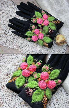 "Embroidered Gloves | Перчатки с вышивкой ""Аврора"" — работа дня на Ярмарке Мастеров"