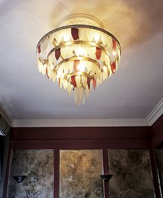 coloured and toughened glass chandelier, UK Rose Arbor, Glass Chandelier, Furniture Making, Interior And Exterior, Ceiling Lights, Sculpture, Lighting, Restaurant, Color