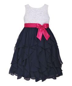 White & Navy Floral Ruffle Dress - Girls