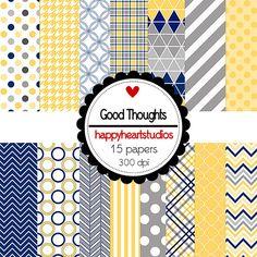 DigitalScrapbooking GoodThoughts Blue Yellow Gray