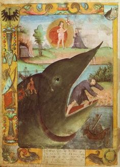 It says 'Jonah and the whale', but I think it might actually be 'Jonah and the giant shrew'