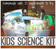 s your child interested in science experiments? You have to take a look at these DIY science kits for kids. Best 11 homemade science kits to keep the kids busy. Fun activity for preschoolers, kindergartners and elementary school kids. Science Experiment Kits, Science Kits For Kids, Easy Science Experiments, Preschool Science, Science Activities, Science Projects, Science Party, Science Fun, Preschool Plans